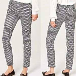 Loft Julie Skinny Black White Size 6 Ankle Pants